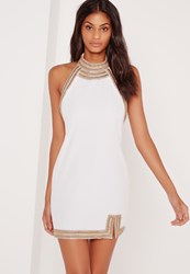 Missguided Embellished Neck Detail Halter Swing Dress White White