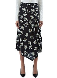 Proenza Schouler Floral Asymmetric Layered Skirt Black