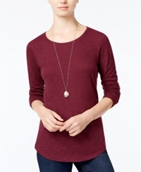 Maison Jules Long Sleeve Crew Neck Top Only At Macy's Bright Rhubarb