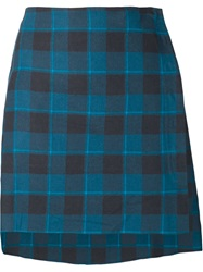 Baja East Asymmetric Checked Skirt Blue