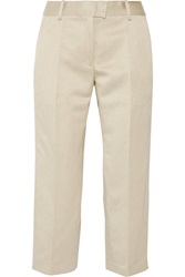 Isabel Marant Blake Cropped Twill Wide Leg Pants Nude
