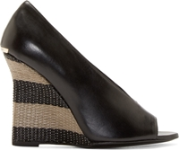 Burberry Black Leather Raffia Reyard Pumps