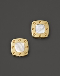 Roberto Coin 18K Yellow Gold Mini Pois Moi Mother Of Pearl Square Stud Earrings