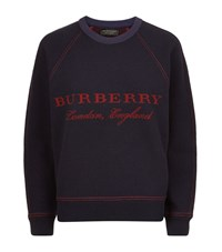 Burberry Runway Logo Sculpted Wool Cashmere Sweatshirt Female Dark Blue