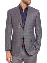 Canali Plaid Wool And Cashmere Sportcoat Medium Grey