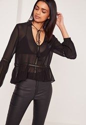Missguided Crochet Insert Frill Hem Blouse Black Black