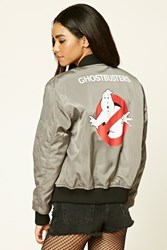 Forever 21 Ghostbusters Bomber Jacket Grey Black
