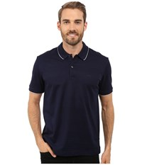 Lacoste Mercerized Piqu Polo With Piping Navy Blue White Men's Clothing