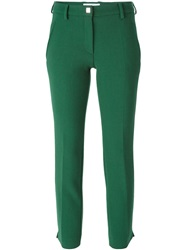 Versace Collection Cropped Slim Fit Trousers Green