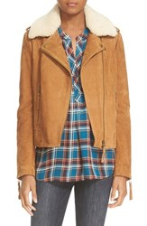 Joie Women's 'Paulette' Suede Moto Jacket With Removable Shearling Collar