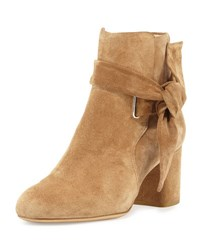 Rag And Bone Dalia Suede Ankle Tie Bootie Camel Black Suede