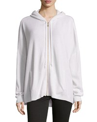 Minnie Rose Cashmere Boxy Zip Front Hoodie Sweater White
