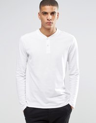 Selected Homme Long Sleeve Top With Baseball Collar White