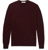 Burberry Slim Fit Cable Knit Cashmere Sweater Burgundy