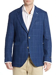 Tailorbyrd Regular Fit Windowpane Check Linen Sportcoat Navy