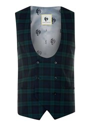 Topman Noose And Monkey Green And Blue Check Waistcoat