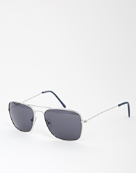 New Look Square Aviator Sunglasses Silver