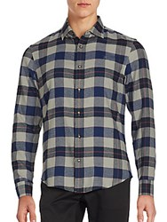 Penguin Cotton Blend Plaid Shirt Medieval Blue