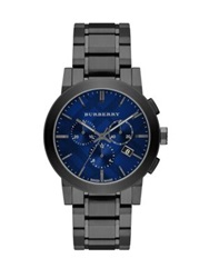 Burberry Round Stainless Steel Chronograph Watch Pewter Blue