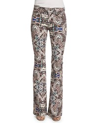 7 For All Mankind Low Rise Paisley Flare Leg Jeans Capri Paisley