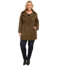 Michael Michael Kors Plus Size Double Breasted Trench Duffle Women's Coat Pewter