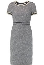 Tory Burch Madison Cotton Blend Boucle Tweed Dress Navy