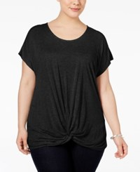 Inc International Concepts Plus Size Twist Front T Shirt Only At Macy's Deep Black