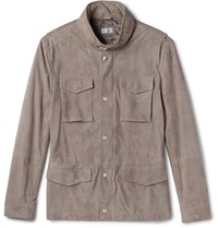 Brunello Cucinelli Slim Fit Corduroy Effect Suede Field Jacket Taupe