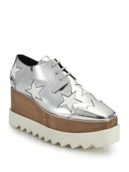 Stella Mccartney Wood And Rubber Platform Metallic Star Oxfords Silver