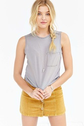 Truly Madly Deeply Pocket Muscle Tank Top Taupe