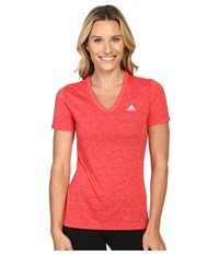 Adidas Ultimate S S V Neck Tee Ray Red Matte Silver Women's T Shirt