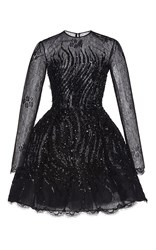 Zuhair Murad Embroidered Flared Short Lace Dress Black
