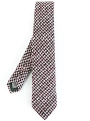 Canali Houndstooth Pattern Tie Red