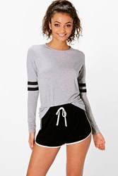 Boohoo Teighan Baseball Stripe Long Sleeve Tee Grey