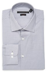John Varvatos Men's Big And Tall Star Usa Soho Slim Fit Stretch Check Dress Shirt Seal Grey
