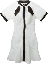 Ktz Front Zip Rigid Mesh Dress White