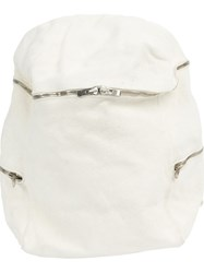 Guidi Zipped Backpack White