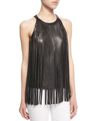 Cusp By Neiman Marcus Sleeveless Leather Fringe Top Black