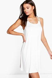 Boohoo Strappy Swing Dress White