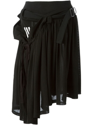 Y 3 Belted Asymmetric Hem Skirt Black