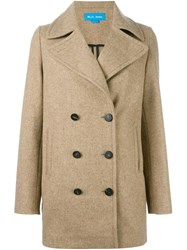 Mih Jeans 'Rosen' Double Breasted Peacoat Nude And Neutrals
