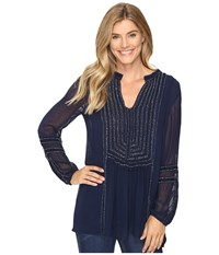 Tolani Ramina Embroidered Tunic Marine Women's Clothing Blue