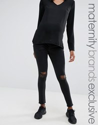 Missguided Maternity Ripped Skinny Jean Washed Black Washed Black