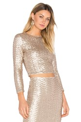 Alice Olivia Lebell Crop Top Metallic Bronze