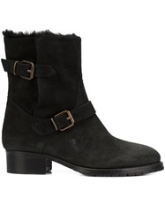 Chuckies New York Buckle Strap Ankle Boots Black
