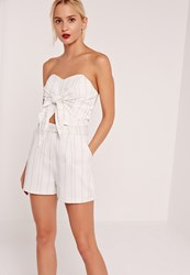 Missguided High Waisted Pin Stripe Shorts White White
