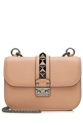 Valentino Leather Small Lock Shoulder Bag Camel