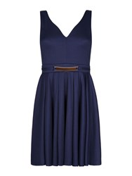 Mela Loves London Belted V Neck Dress Navy