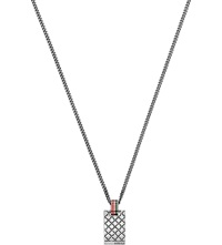 Gucci Square Pattern Engraved Sterling Silver Necklace