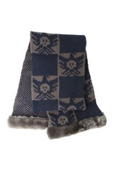 Australia Luxe Collective Knit Genuine Shearling Trim Scarf Blue
